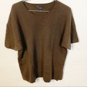 Vince l Brown 100% Cashmere Short Sleeve Sweater